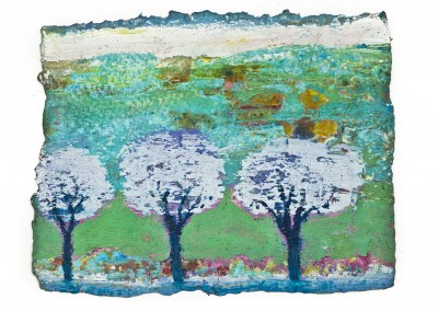 Three Jacarandas. Oil,sand and beeswax on paper. 23cmx17cm