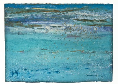 Deep Sea Blue. Oil,Sand and beeswax on paper. 50cmz70cm
