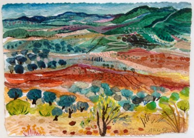 Burnt Earth and Olives. Watercolour and sand on paper.