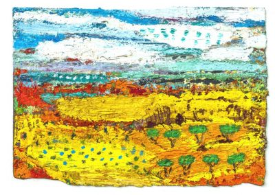 Wind, Snow and Terracotta Earth. Oil, sand and beeswax on paper. 23cmx17cm